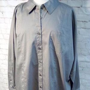 Motto size 1X gray thigh length button shirt